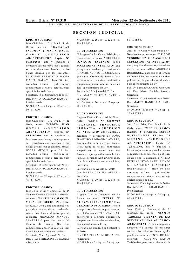 Boletín Oficial Nº 19.318                                                   Miércoles 22 de Septiembre de 2010            ...