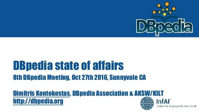 DBpedia state of affairs 8th DBpedia Meeting, Oct 27th 2016, Sunnyvale CA Dimitris Kontokostas, DBpedia Association & AKSW...