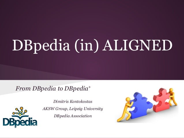 DBpedia (in) ALIGNED From DBpedia to DBpedia+ Dimitris Kontokostas AKSW Group, Leipzig University DBpedia Association