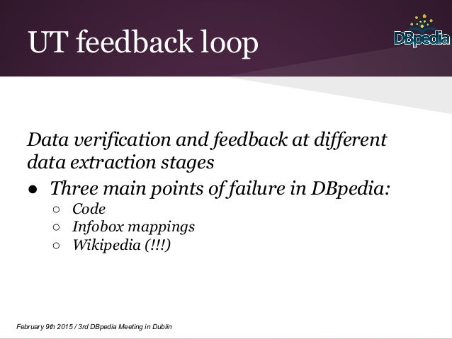 February 9th 2015 / 3rd DBpedia Meeting in Dublin UT feedback loop Data verification and feedback at different data extrac...