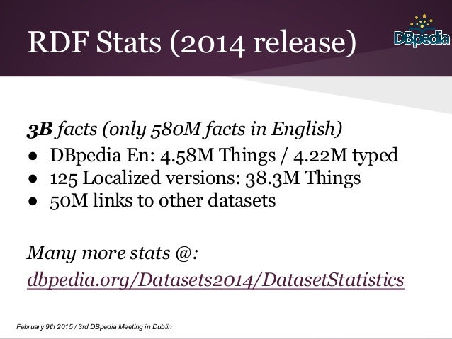 February 9th 2015 / 3rd DBpedia Meeting in Dublin RDF Stats (2014 release) 3B facts (only 580M facts in English) ● DBpedia...