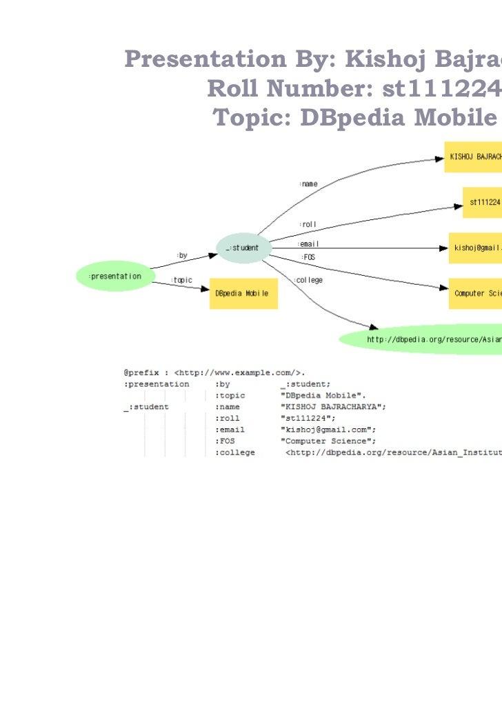 Presentation By: Kishoj Bajracharya      Roll Number: st111224      Topic: DBpedia Mobile