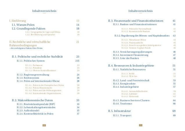 76 Inhaltsverzeichnis Inhaltsverzeichnis I. Einführung 13  I.1. Warum Polen 14  I.2. Grundlegende Fakten 18 ...