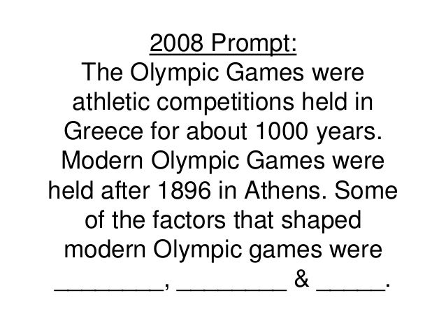 modern olympics dbq The olympics have been able to create peace between contries,  founder of the modern olympic movement,  please grade my ap world dbq.