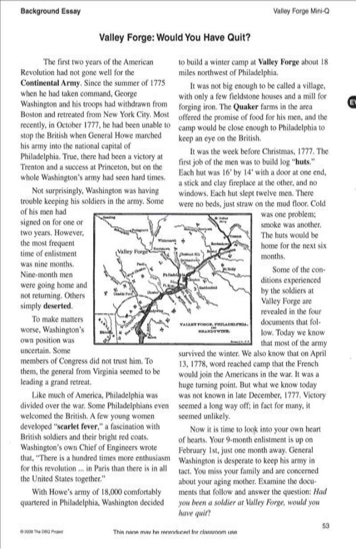 valley forge would i have quit Early jamestown: why did so many colonists die what caused the salem  witch trial hystereia of 1692 valley forge: would you have quit how did the .