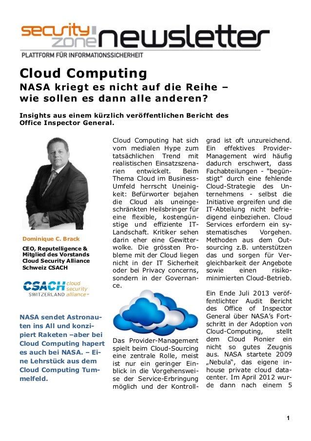 1 Cloud Computing NASA kriegt es nicht auf die Reihe – wie sollen es dann alle anderen? Insights aus einem kürzlich veröff...