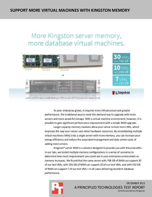SUPPORT MORE VIRTUAL MACHINES WITH KINGSTON MEMORY                      As your enterprise grows, it requires more infrast...