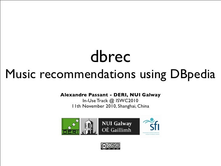 dbrecMusic recommendations using DBpedia         Alexandre Passant - DERI, NUI Galway                  In-Use Track @ ISWC...