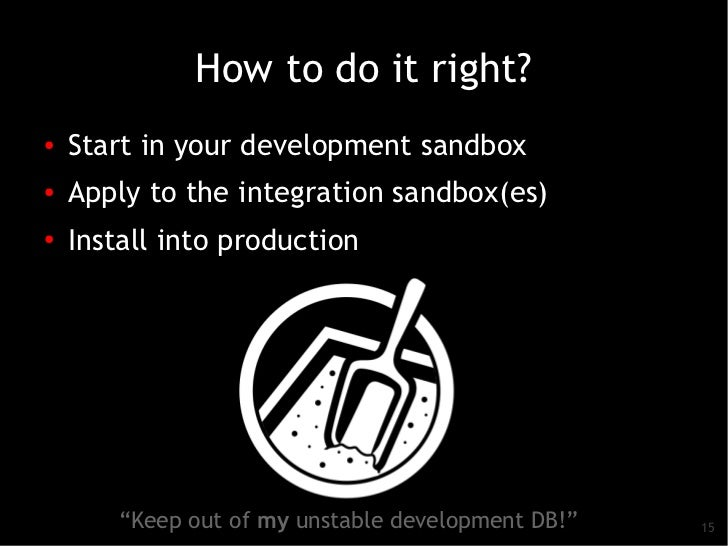 How to do it right?●   Start in your development sandbox●    Apply to the integration sandbox(es)●    Install into product...