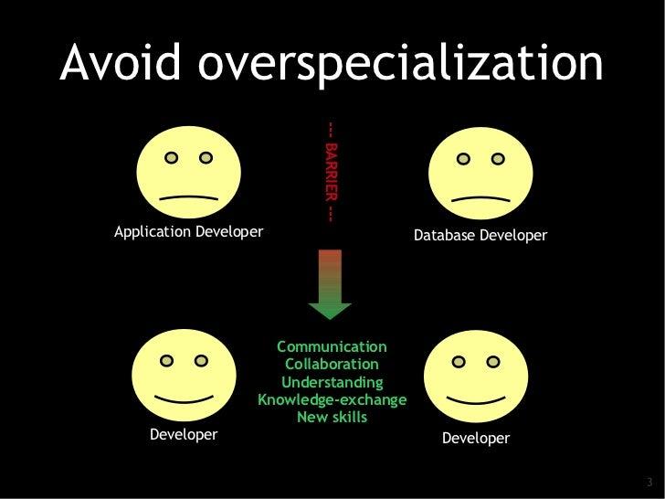 Avoid overspecialization                             --- BARRIER ---  Application Developer                        Databas...