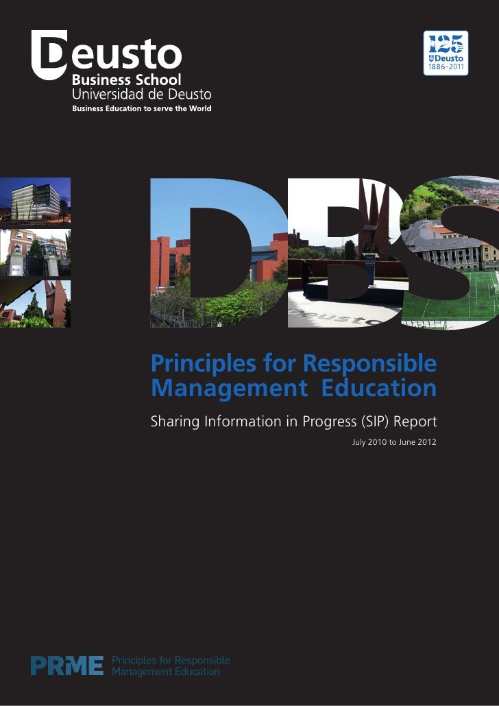 Principles for ResponsibleManagement EducationSharing Information in Progress (SIP) Report                               J...
