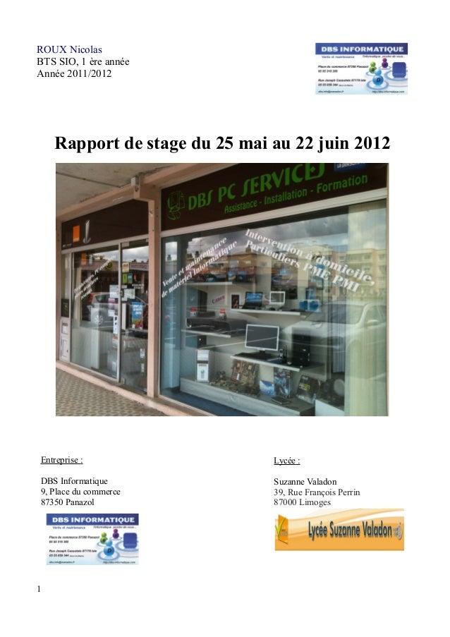 ROUX Nicolas  BTS SIO, 1 ère année  Année 2011/2012  Rapport de stage du 25 mai au 22 juin 2012  Entreprise :  DBS Informa...