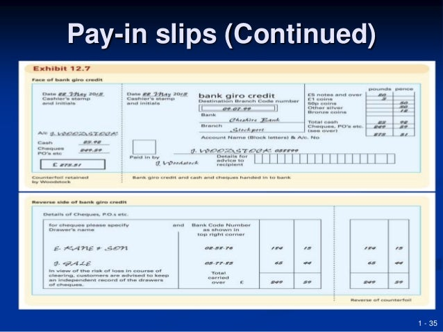 Superior 1   35 Pay In Slips (Continued) ...  Pay In Slips