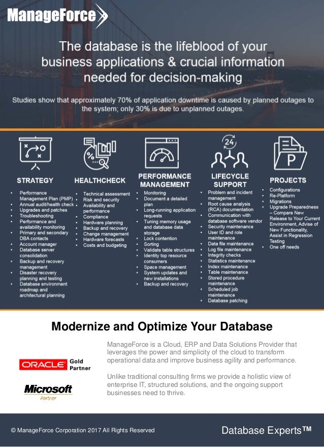 Modernize and Optimize Your Database ManageForce is a Cloud, ERP and Data Solutions Provider that leverages the power and ...