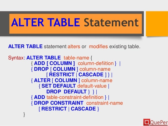 Database systems sql ddl statements chapter 3 2 - Sql server alter table add column default ...
