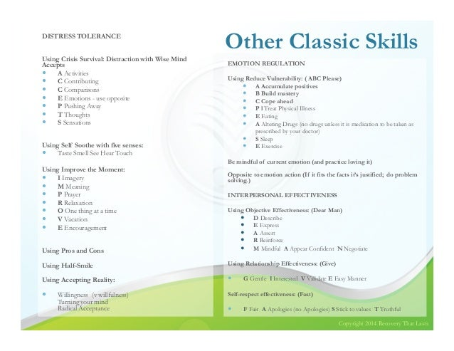 DBT for those with BPD and Substance Use Disorders – Wise Mind Worksheet
