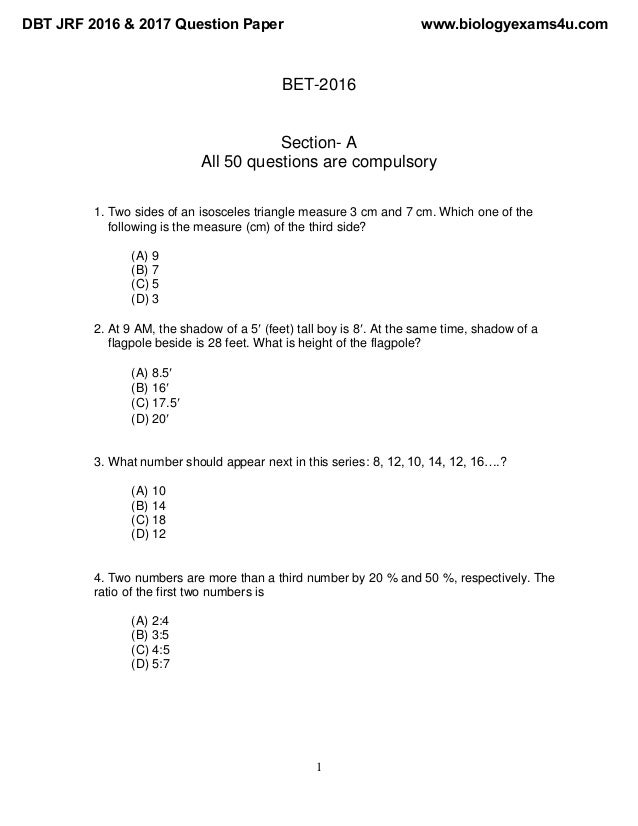 1 BET-2016 Section- A All 50 questions are compulsory 1. Two sides of an isosceles triangle measure 3 cm and 7 cm. Which o...