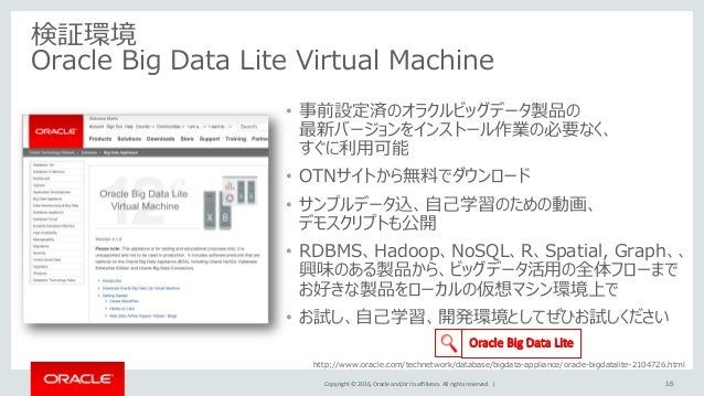 Copyright © 2016, Oracle and/or its affiliates. All rights reserved.   • 事前設定済のオラクルビッグデータ製品の 最新バージョンをインストール作業の必要なく、 すぐに利用可...