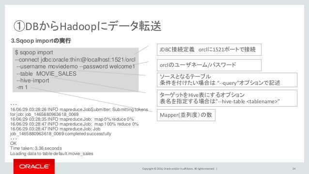 Copyright © 2016, Oracle and/or its affiliates. All rights reserved.   ①DBからHadoopにデータ転送 24 3.Sqoop importの実行 $ sqoop impo...