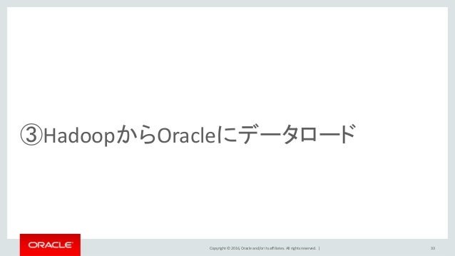 Copyright © 2016, Oracle and/or its affiliates. All rights reserved.   33 ③HadoopからOracleにデータロード