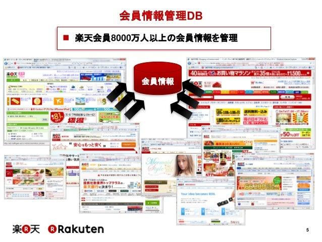 5会員情報管理DB会員情報 楽天会員8000万人以上の会員情報を管理
