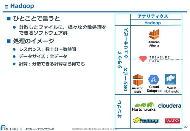 (C) Recruit Technologies Co.,Ltd. All rights reserved. Hadoop 37 アナリティクス Hadoop クラウドオンプレ Amazon EMR Cloud Dataproc Amazon ...