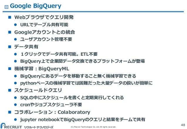 (C) Recruit Technologies Co.,Ltd. All rights reserved. Google BigQuery  Webブラウザでクエリ開発  URLでテーブル共有可能  Googleアカウントとの統合  ...