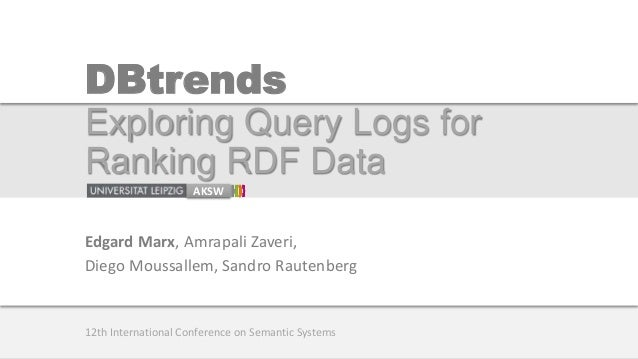 DBtrends Exploring Query Logs for Ranking RDF Data AKSW Edgard Marx, Amrapali Zaveri, Diego Moussallem, Sandro Rautenberg ...