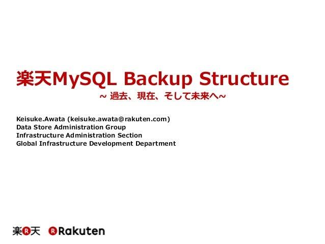 楽天MySQL Backup Structure ~ 過去、現在、そして未来へ~ Keisuke.Awata (keisuke.awata@rakuten.com) Data Store Administration Group Infrast...