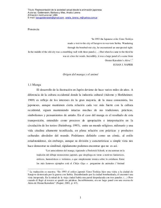 Título: Representación de la sociedad actual desde la animación japonesaAutoras: Goldenstein, Bárbara y Meo, Analía Lorena...