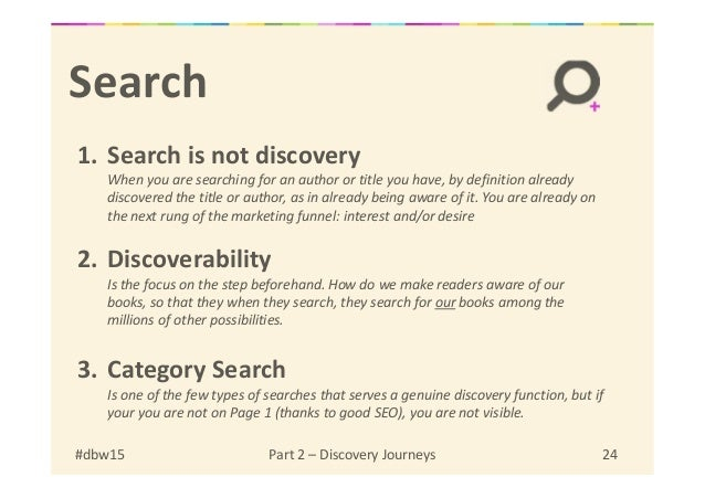 Search 1. Search is not discovery When you are searching for an author or title you have, by definition already discovered...