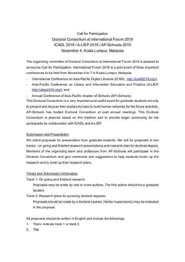 Call for Participation Doctoral Consortium at International Forum 2019 ICADL 2019 / A-LIEP 2019 / AP-iSchools 2019 Novembe...