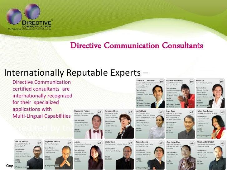Directive Communication Consultants  Internationally Reputable Experts –   Directive Communication   certified consultants...