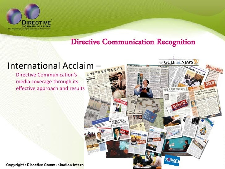 Directive Communication Recognition  International Acclaim –   Directive Communication's   media coverage through its   ef...