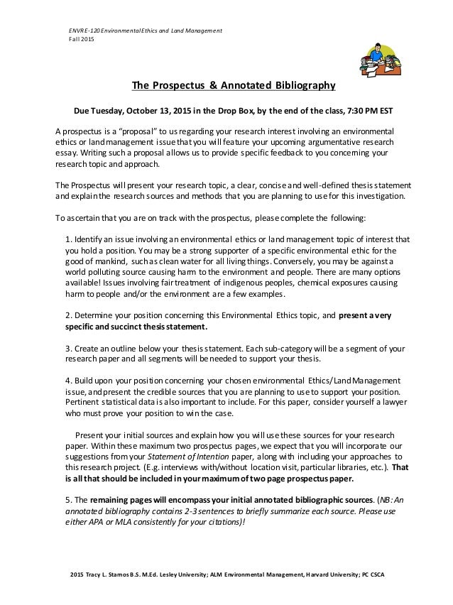 2015 the prospectus  u0026 annotated bibliography