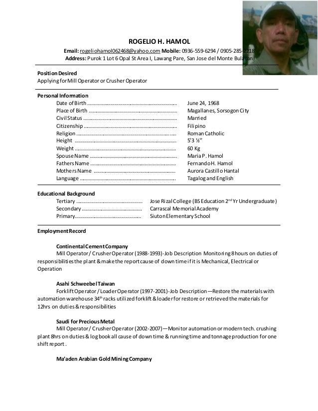 Rogelio H Hamol Resume