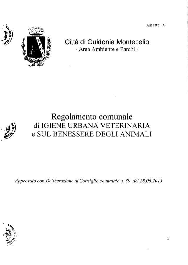"""•• .......  Allegato """"A"""" . • J}) ,~~ Città di Guidonia Montecelio - Area Ambiente e Parchi  Regolamento'comunale  di IGIE..."""