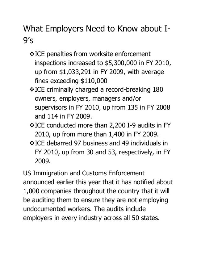 What Employers Need to Know about I-9's  ICE penalties from worksite enforcement   inspections increased to $5,300,000 in...