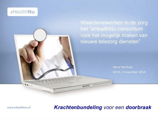"""Harry Nienhuis DC10, 2 november 2010 Krachtenbundeling voor een doorbraak Waardenetwerken in de zorg: het """"eHealthNu conso..."""