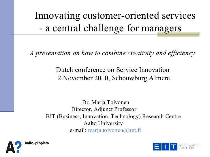 D r.  Marja Toivonen     Director, Adjunct Professor   BIT (Business, Innovation, Technology) Research Centre Aalto Univ...
