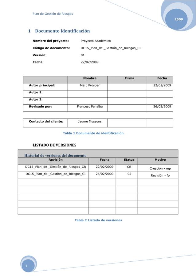 Plan de Gestión de Riesgos 2009 4 1 DocumentoIdentificación Nombre del proyecto: Proyecto Académico Código de documento:...