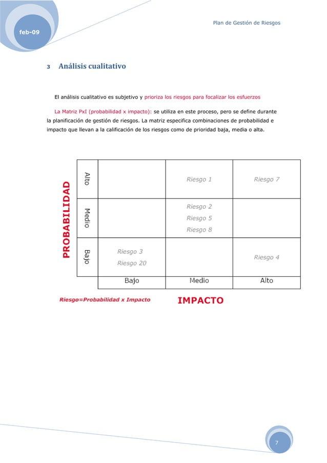 Plan de Gestión de Riesgos 7 feb-09 3 Análisiscualitativo El análisis cualitativo es subjetivo y prioriza los riesgos par...