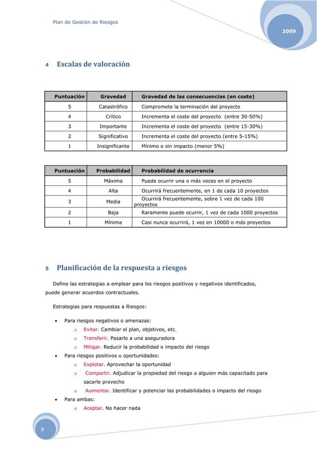 Plan de Gestión de Riesgos 2009 8 4 Escalasdevaloración Puntuación Gravedad Gravedad de las consecuencias (en coste) 5 C...