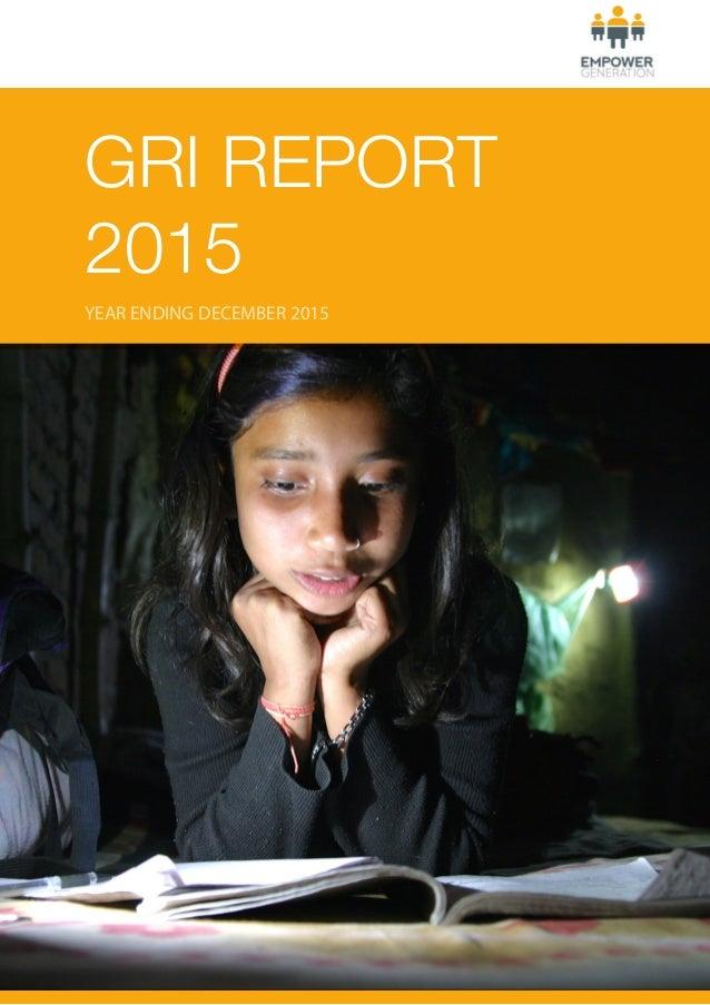 GRI REPORT 2015 YEAR ENDING DECEMBER 2015
