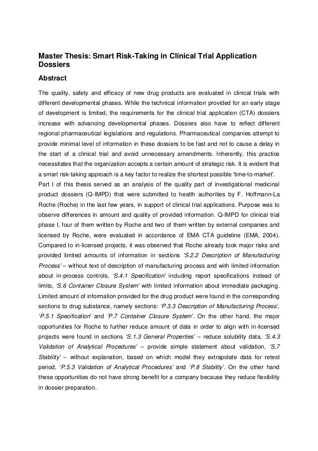 Master thesis proposal abstract