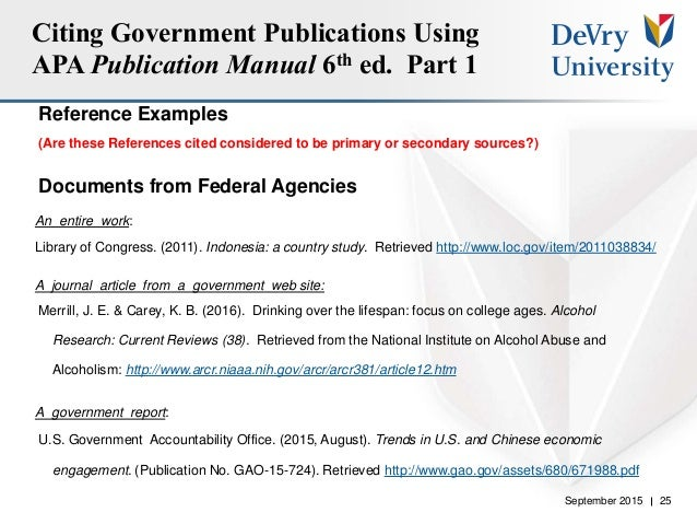 Government publications and researchwhat you need to know 2015 7 25 september 2015 25 citing government publications using apa ccuart Image collections
