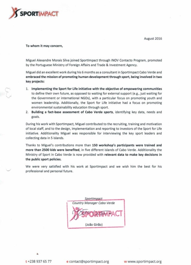 w www.sportimpact.orge contact@sportimpact.orgt +238 937 65 77 (Joao Girao) Country Manager Cobo Verde We were very satisf...