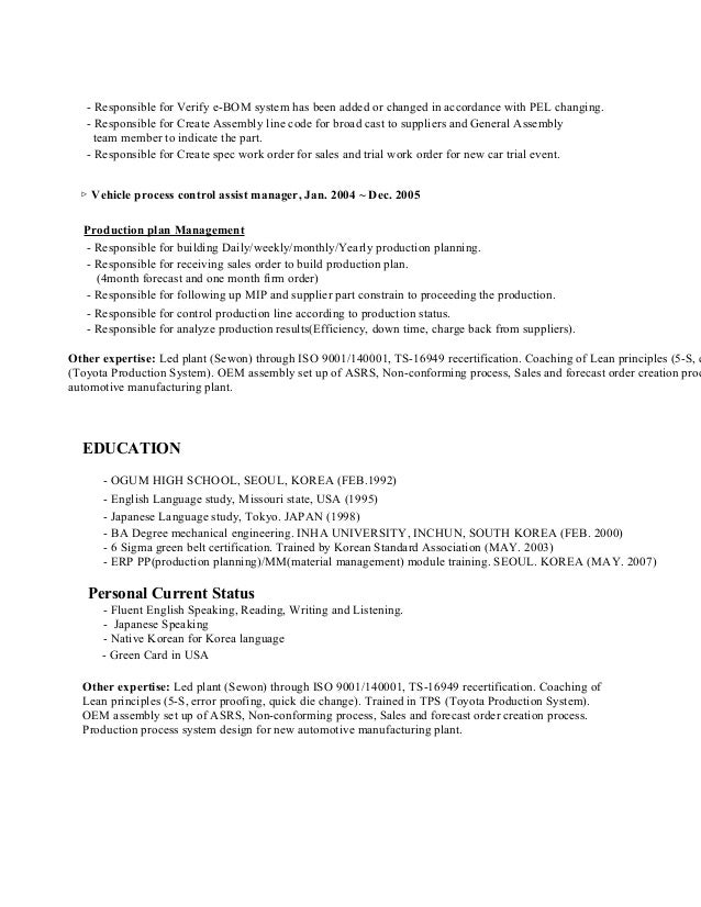 Dorable Toyota Engineering Resume Motif - Administrative Officer ...
