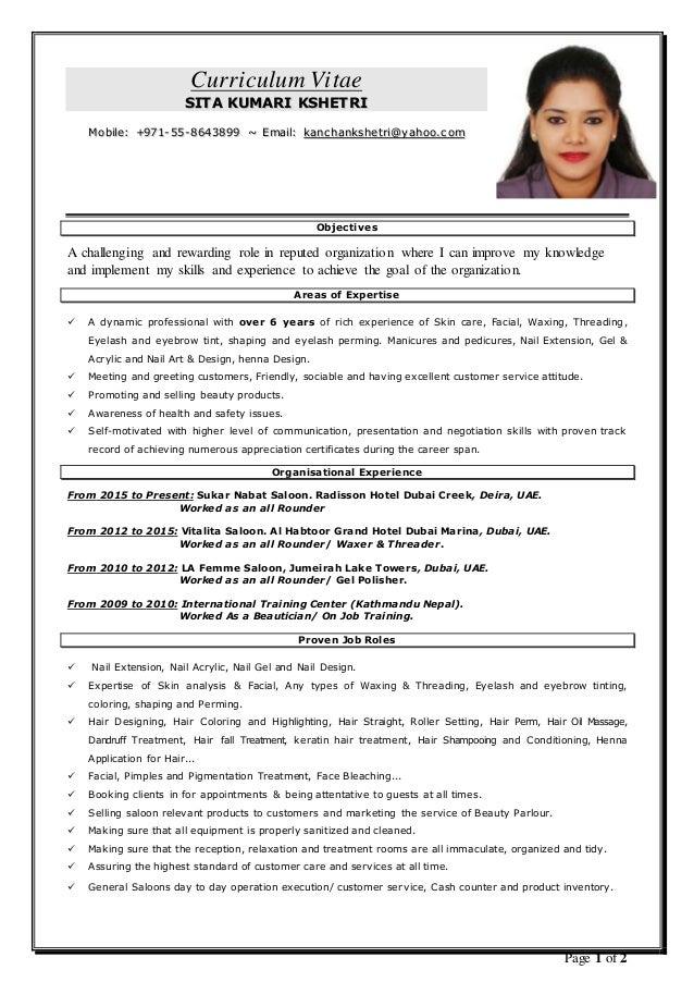 beautician resume