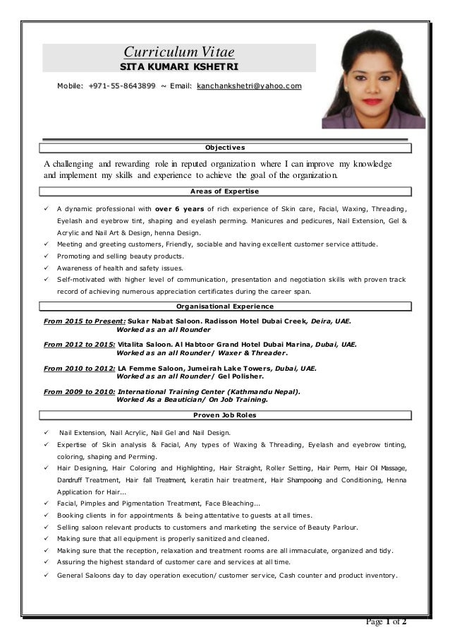 cv for beautician